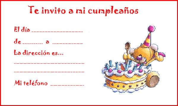 Invitaciones De Cumpleaños Para Niños Tarjetas De